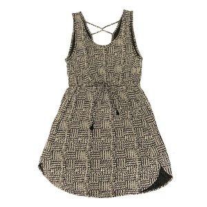 Lucky Brand | Cream/Black Animal Print Tie Dress